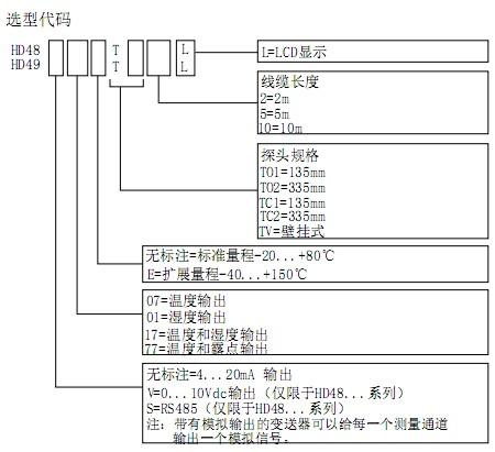hd48三线制温湿度变送器/hd49两线制温湿度变送器选型表